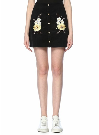 Glamorous Çiçekli Mini Etek Siyah
